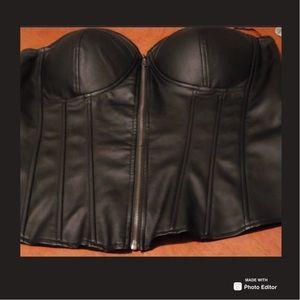 Torrid Black Faux Leather Bustier